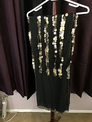 Black & Gold Coins Belly Dancing Hip Wrap Scarf