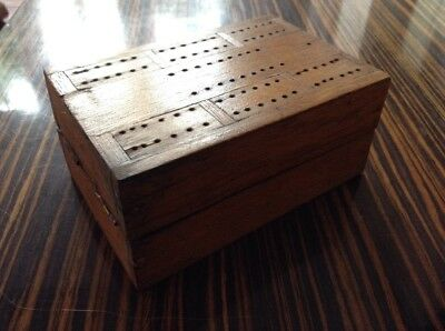 ANTIQUE Vintage WOODEN Box FOLDING CRIBBAGE BOARD BOX