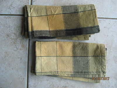 New Lot of 2 Longaberger Basket Fabric Napkin Navy Blue Yellows Greens Plaid