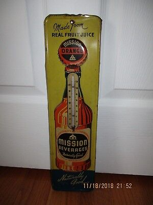 Vintage MISSION BEVERAGES Embossed Metal ORANGE SODA Advertising Thermometer