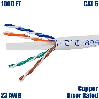 Patron Cat6 Ethernet Cable 23AWG 600Mhz UL Bare Solid Copper Wire UTP 500 Blue