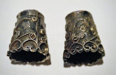 "PAIR Vintage MEXICO Sterling Silver .925 Hand-worked SEWING THIMBLES, No. ""2"""