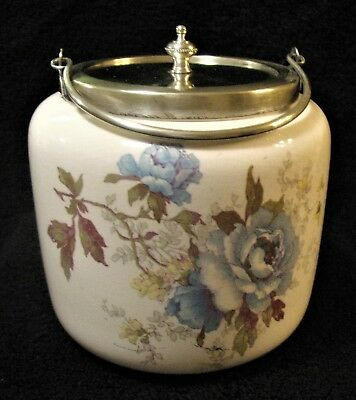 Beautiful Victorian Hand Painted Antique Bisquit Jar With Metal Lid/Trim/Handle