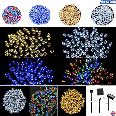 UK 100-500 LED Solar Power Fairy Lights String Garden Outdoor Party Wedding Xmas
