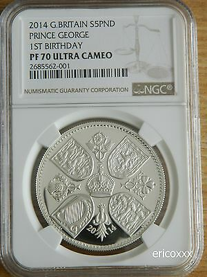 2014 Royal Mint UK Prince George £5 Silver Coin NGC PF 70 ULTRA CAMEO