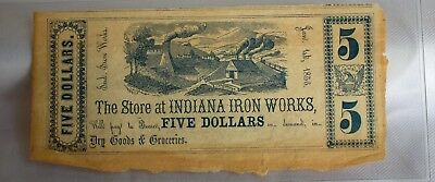 Civil War Era Obsolete Fractional Currency Genuine Indiana Iron Works Five $