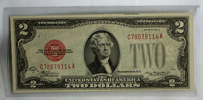1928 D $2 Two Dollar Currency Paper Money Fine Red Seal #9114A AU