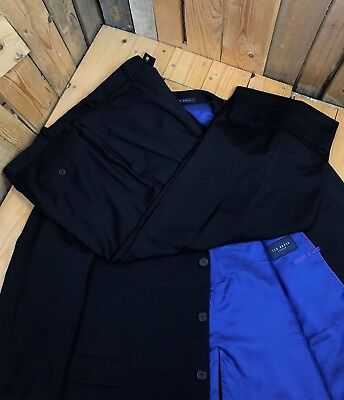 Men's Dark Navy Blue Ted Baker Suit 50R W44 L30 100% Wool 3 Button Single Vent A