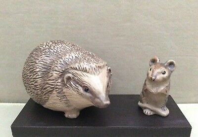 Poole Pottery Stoneware Hedgehog & Mouse By Barbara Linley-Adams