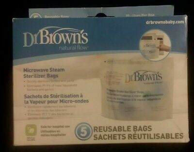 Dr Brown S Natural Flow 5 Steam Sterilizer Bags Microwave 20 Uses Per Bag Safe