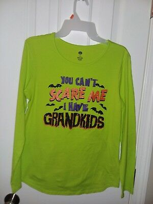 "Halloween T-Shirt Woman's Size 8-10 ""You Can't Scare Me I Have Grandkids"""