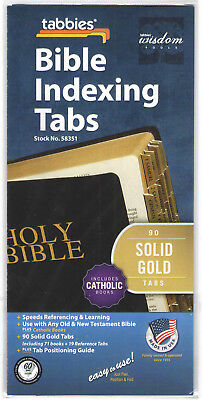 GOLD BIBLE INDEXING TABS Old & New Testaments + Catholic Books Tabbies 58351