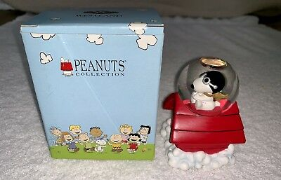 WESTLAND GIFTWARE # 8201 Peanuts Snoopy Flying ACE Water Globe New In Box