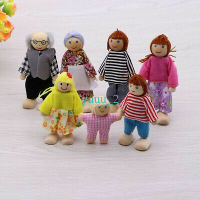 Sweetbee Dolls House Family of 7 flexible wooden doll house people figures UK