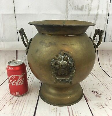 Beautiful Antique Art Nouveau Brass Planter W/ Handles Vintage Urn Great Patina