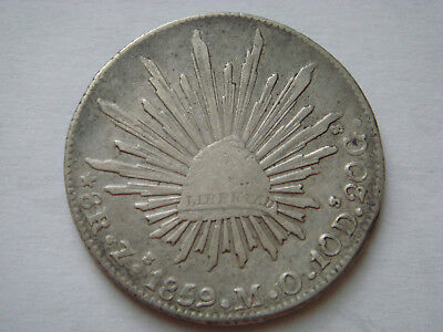 """1859 """"Zs MO"""" MEXICO (First Republic) 8 Reales (27.07g.,.903 silver) in VF Condit"""