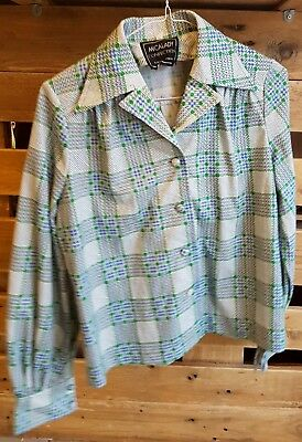 Vintage Womens 1980s Retro Tartan Print Shirt -SIZE 14- *Blouse Made in Japan*