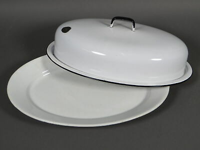 """Antique White Ironstone 18"""" Platter with Enamelware Lid Shabby Chic"""