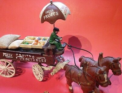 Vintage Cast Iron Metal Toy Horse Drawn Fruits and Vegetables Wagon Umbrella
