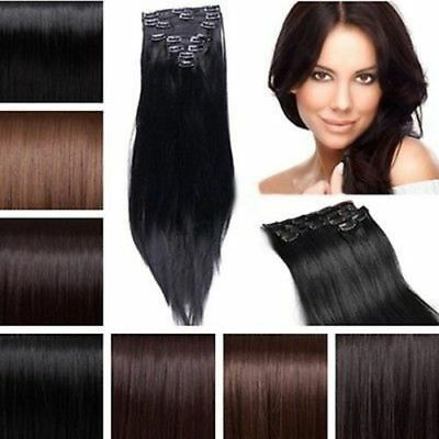 """18"""" Full Head Silky Straight Extensions human feel synthetic Copper Plum Bugundy"""