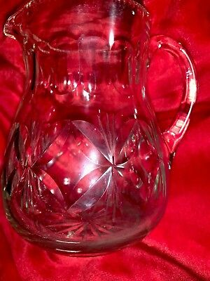 Fine Antique AMERICAN BRILLIANT Cut Crystal Glass Handled Small Pitcher EAPG