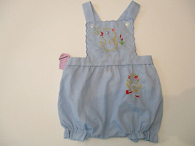 Vtg Romper Overalls Sz. 9 mos Boys West Side Blue Lightweight Shorts NWT