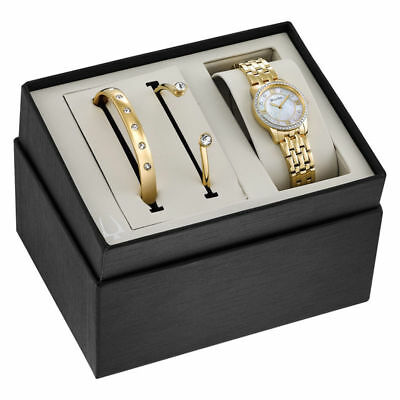 Ladies' Bulova Crystal Accent Gold-Tone Watch and Bangle Boxed Set (Model: 98X11