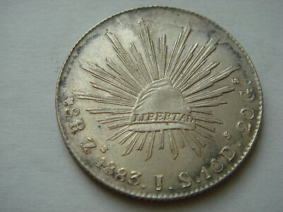 """1883 """"Zs JS"""" MEXICO (First Republic) 8 Reales (27.07g.,.903 silver) in XF+ Cond"""