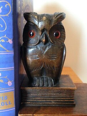 Antique Pair of Black Forest Owl Hand Carved Wooden Bookends C.1900