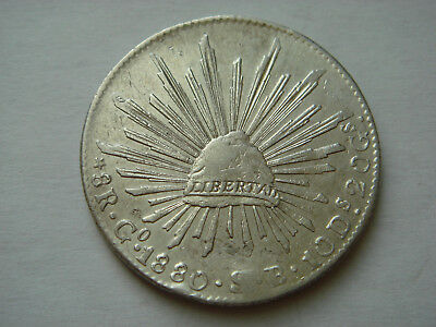 """1880/70 """"Go SB"""" MEXICO (First Republic) 8 Reales (27.07g.,.903 silver) in XF"""