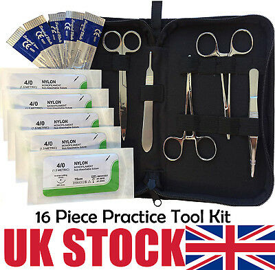 16 Piece Stainless Steel Suture Pad PracticeTool Kit - by Doc Tools