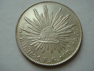 """1894 """"Ho FG"""" MEXICO 8 Reales (27.07g.,.903 silver) in AU Cond."""