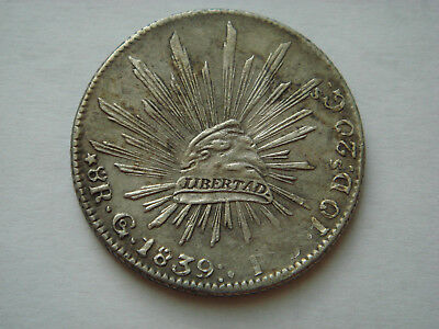 """1839 """"Go PJ"""" MEXICO (First Republic) 8 Reales (27.07g.,.903 silver) in XF Condit"""