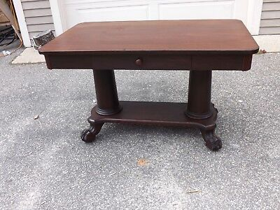 Antique Mahogany Desk/library Table With Claw Feet