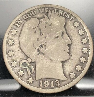 1913 50c Barber Half Dollar in Good Condition With Scratch(978)