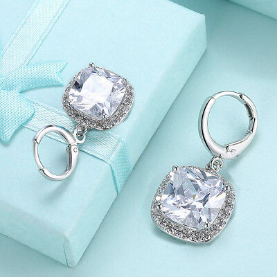 18K White Gold Plated Halo Drop Earrings Made With Swarovski Crystal