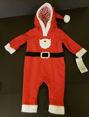 NWT Baby Cat & Jack One Piece Santa Hoodie Red Suit Size 3-6Months