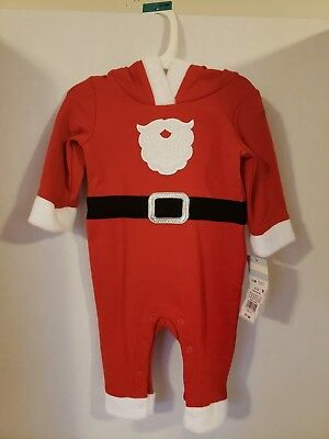 NWT Baby Cat & Jack One Piece Santa Hoodie Red Suit Baby 0-3 Months