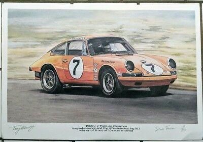 Porsche 911 1968 Trans Am Champion - Signed Lithograph By Artist & Driver