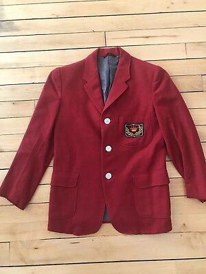 Vintage Boys 1950's Ruby Red Wool 3 Button Blazer Jacket Crested Formal Winter