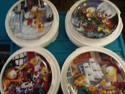 Garfield Christmas collectors plate NEW WITH COA lot of 4