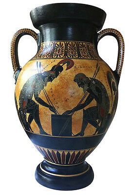 Ancient Greek Achilles and Ajax playing dice Amphora Vase  Museum Replica