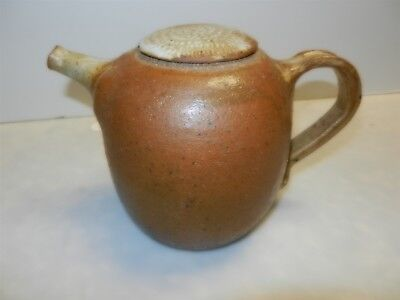Hand Made Thrown Brown Pottery Ceramic Teapot Signed Shelling