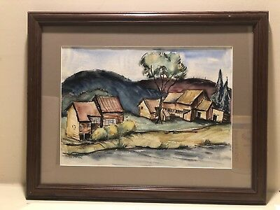 SIGNED VINTAGE AMERICAN TROXEL CHICAGO MODERNIST Watercolor Painting