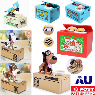 Eating Money Stealing Coin Cat Santa Dog Piggy Bank Saving Boxes Kids Xmas Gifts