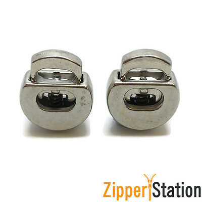 METAL Cord Locks with Spring - Stopper Toggle Lock Ends - Silver (STAY)