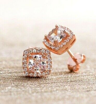 2.2ct Princess Cut Halo Stud Solitaire Earrings 14k Rose Gold Screw Back