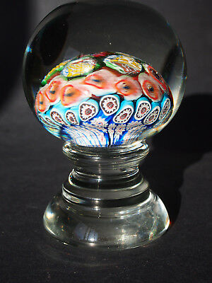 """5"""" Vtg Antique Pedestal Footed Millefiori Paperweight~Possibly French Crystal"""