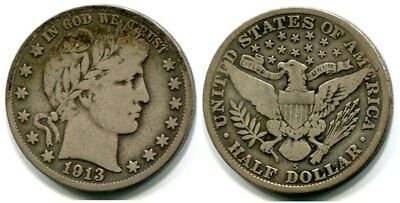 1913-S Barber Half Dollar- Another nice date in series.