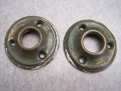 Lot of 2 Matching pair Antique Brass Door Knob Rosette Back Plates Escutcheons 1